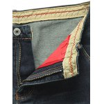 Tapered Fit Zip Fly Applique Distressed Jeans deal