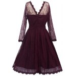 Vintage Lace Party Skater Dress with Sleeves deal