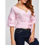 cheap V Neck Layered Sleeve Wrap Blouse