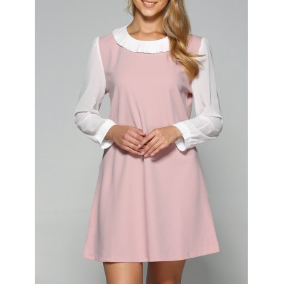 Pleated Two Layered Collar A Line Dress