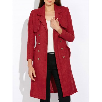 Wool Blend Double-Breasted Long Trench Coatwith Belt