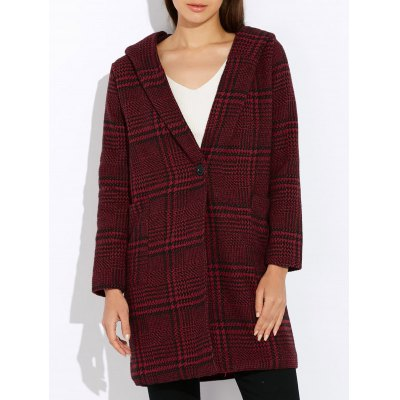 Houndstooth Hooded Wool Blend Coat