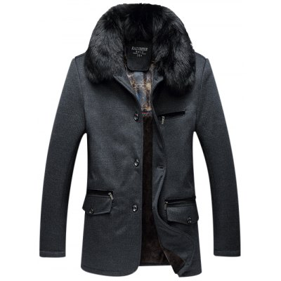 Detachable Faux Fur Collar Zippered Flocking Jacket