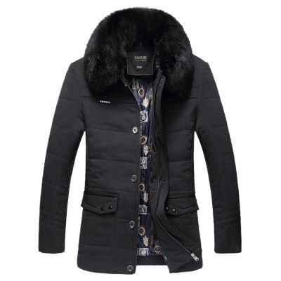 Detachable Faux Fur Collar Hooded Plus Size Single Breasted Down Coat