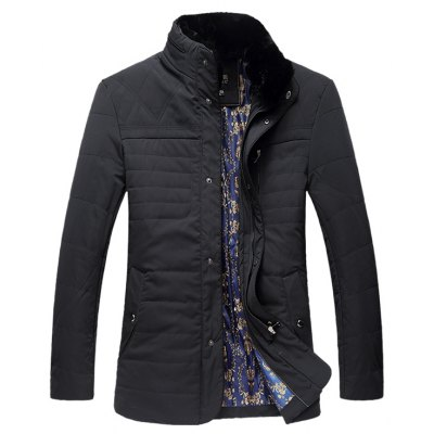 Stand Collar Plus Size Zipper Down Jacket