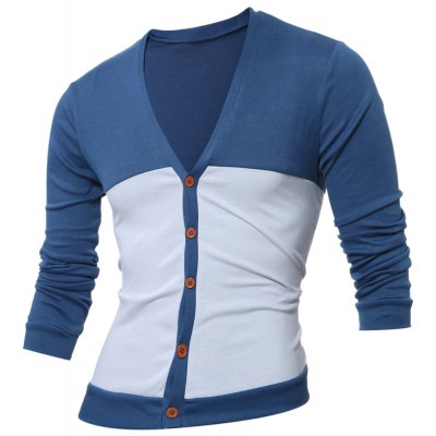 V Neck Button Up Two Tone Cardigan