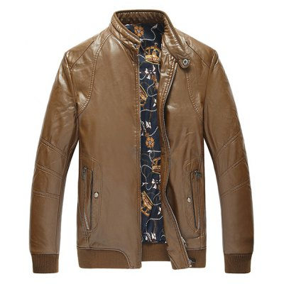 Rib Cuff Faux Leather Padded Jacket