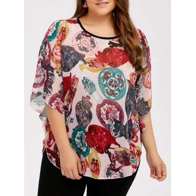 Plus Size Batwing Sleeve Colorful Patterned Blouse