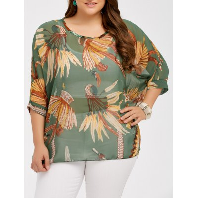 Plus Size Feather Print See Thru Blouse