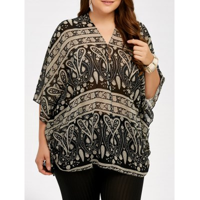 Plus Size V Neck Ethnic Blouse