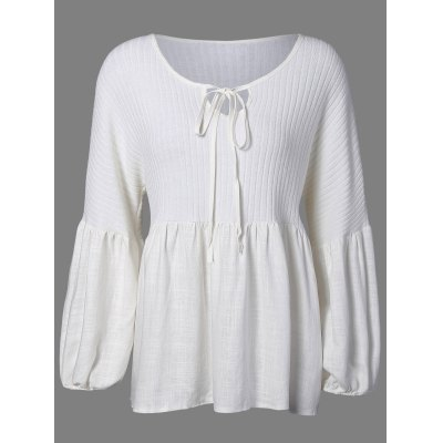 Knitted Insert Puff Sleeve Blouse