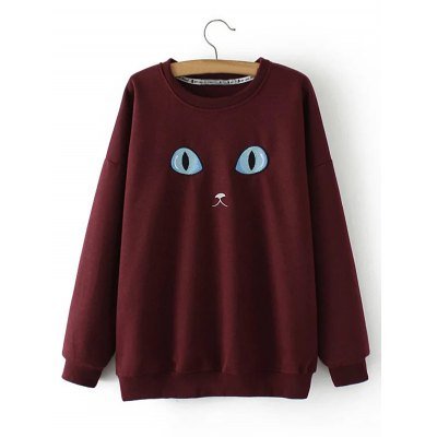 Plus Size Cat Embroidery Sweatshirt
