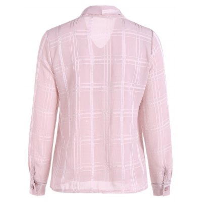 grid-pussy-bow-tied-neck-blouse