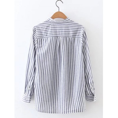 Striped High Low Lace Up Shirt
