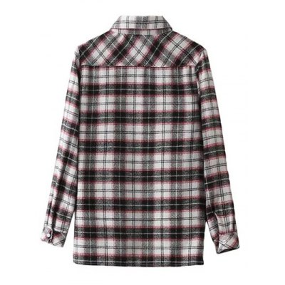 Embroidered Plaid Long Sleeve Shirt