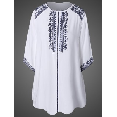 Embroidered Top With Tassel