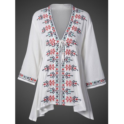 Plunging Neck Embroidered Flare Sleeve Top