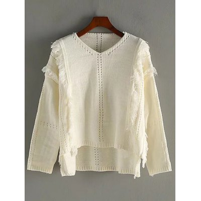 High Low Fringed Pullover Sweater