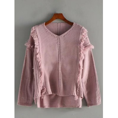V Neck High Low Fringed Pullover Sweater
