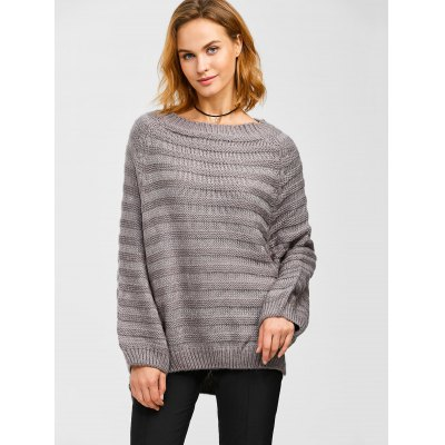 Dolman Sleeve Side Slit Loose Sweater