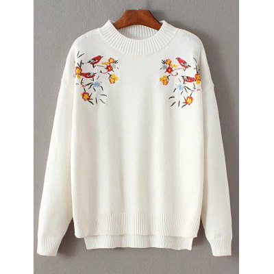 Floral Embroidered Pullover Sweater