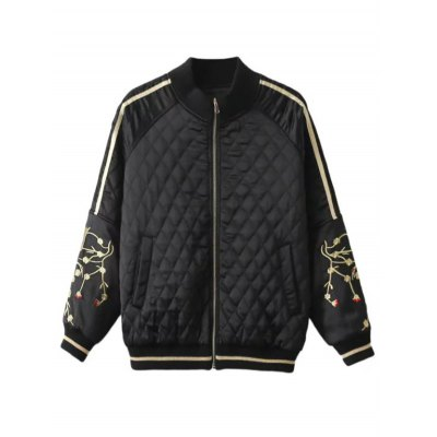 Crane Embroidered Argyle Bomber Jacket