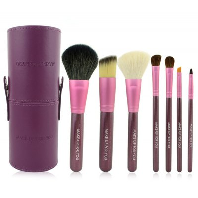 7 Pcs Goat Hair Facial Makeup Brushes Set with Brush Holder