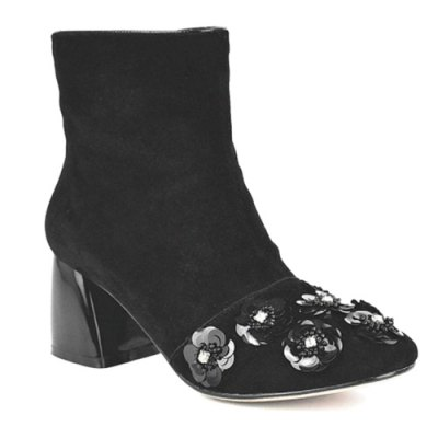 Squined Flowers Ankle Boots