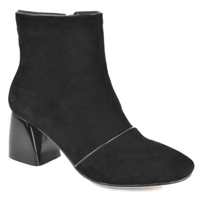 Square Toe Zip Ankle Boots