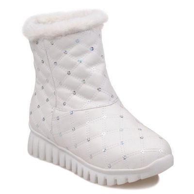 Sequined Faux Fur Snow Boots