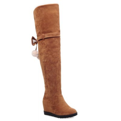 Bow Pompons Thigh Boots