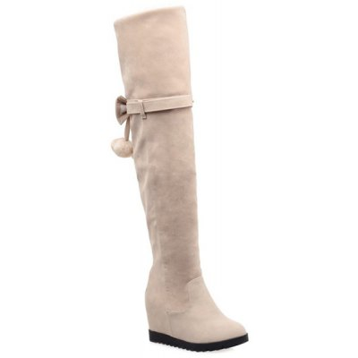 Hidden Wedge Bow Pompons Thigh Boots