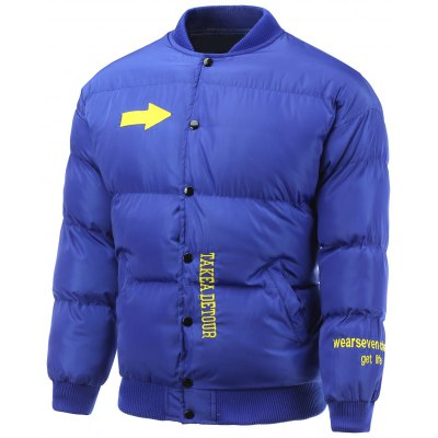 Snap Front Embroidered Padded Jacket