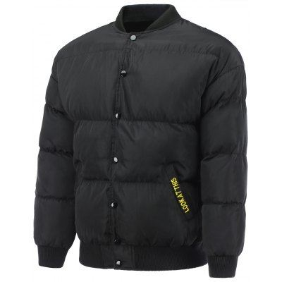 Embroidered Snap Padded Jacket