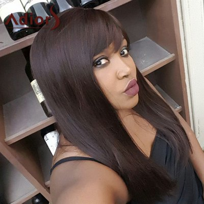 Long Mixed Color Side Bang Straight Synthetic Wig