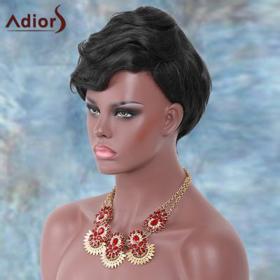 Short Layered Shaggy Side Bang Straight Adiors Synthetic Wig