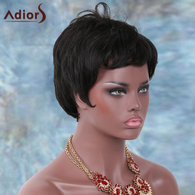 Adiors Short Side Bang Straight Shaggy Synthetic Wig