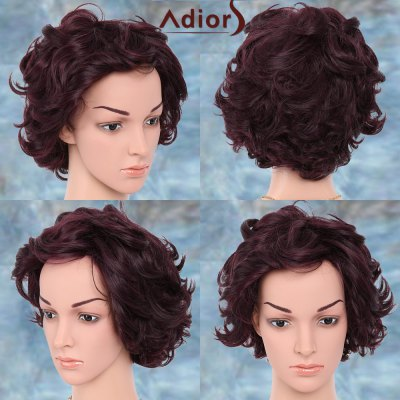 Short Oblique Bang Curly Pixie Adiors Synthetic Wig