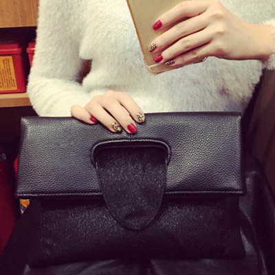 Textured Leather Folding Magnetic Closure Clutch Bag