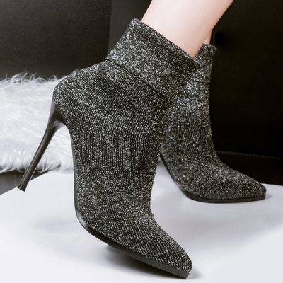 Pointed Toe Glitter Short Boots