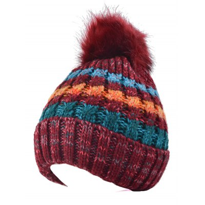 Color Splicing Knitted Fur Pom Ball Beanie Hat