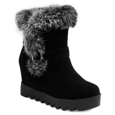 Furry Buckle Strap Hidden Wedge Boots