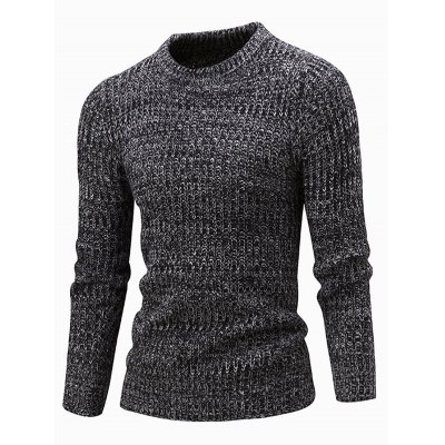 Slim Fit Crew Neck Ribbed Knitted Sweater