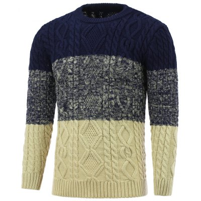 Crew Neck Color Block Cable Knitted Sweater