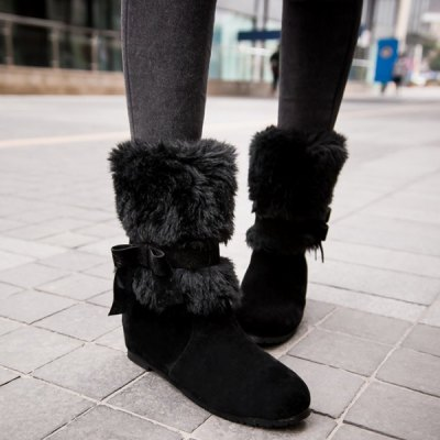 Faux Fur Bowknot Low Heel Ankle Boots