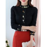 cheap Floral Crochet Trim Lace Top