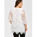 Sheer Lace Asymmetrical Plus Size Blouse for sale