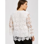 Plus Size Openwork Sheer Lace Blouse for sale
