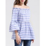 cheap Off The Shoulder Bell Sleeve Striped Blouse