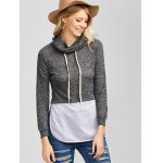 Heather String Spliced Hoodie for sale